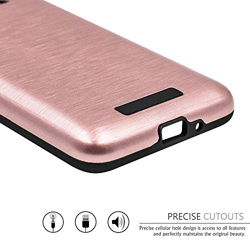 Galaxy J2 Prime Case,Galaxy Grand Prime Plus Case,(TM)[Metal Brushed Texture] Impact Resistant Heavy Duty Hybrid Dual Layer Shockproof Protective Cover Shell For Samsung Galaxy J2 Prime Rose Gold Photo #2