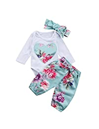 3Pcs Newborn Infant Baby Girl Floral Romper Bodysuit with Headband Long Pants Outfit Clothes Set