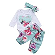 3Pcs Newborn Infant Baby Girl Floral Romper Bodysuit with Headband Long Pants Outfit Clothes Set (0-6 Months, White+blue)