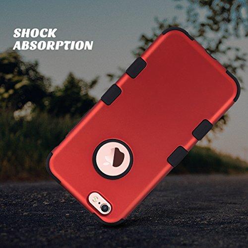 iPhone 6 caso, ULAK iPhone 6s Funda Carcasa silicona caso a prueba de choques 3in1 híbrido impacto antideslizante cubierta protectora dura para el iPhone 6 6s 4,7 pulgadas (Titanio Rojo + Negro) Titanio Rojo + Negro