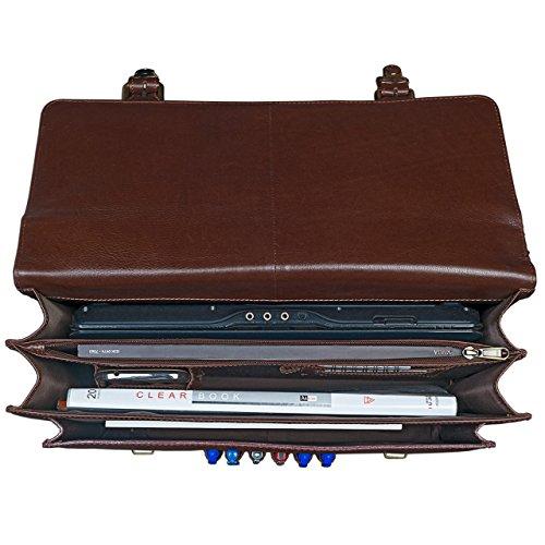 STILORD Bolsa de negocios elegante Vintage del hombro bolso de Profesores de oficina bolsa de genuina piel de vaca, de color marrón rojizo