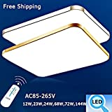 Dimmable Modern Led Ceiling Lights Squar Rectangle LED Lighting Fixtures;LED Chandeliers,Lamps (Silver 48W 2617 inch & Remote)