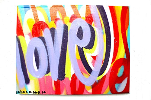 CHRIS RIGGS Original Love fine art painting 14 x 11 pop street art spray paint NYC acrylic contemporary modern art urban canvas