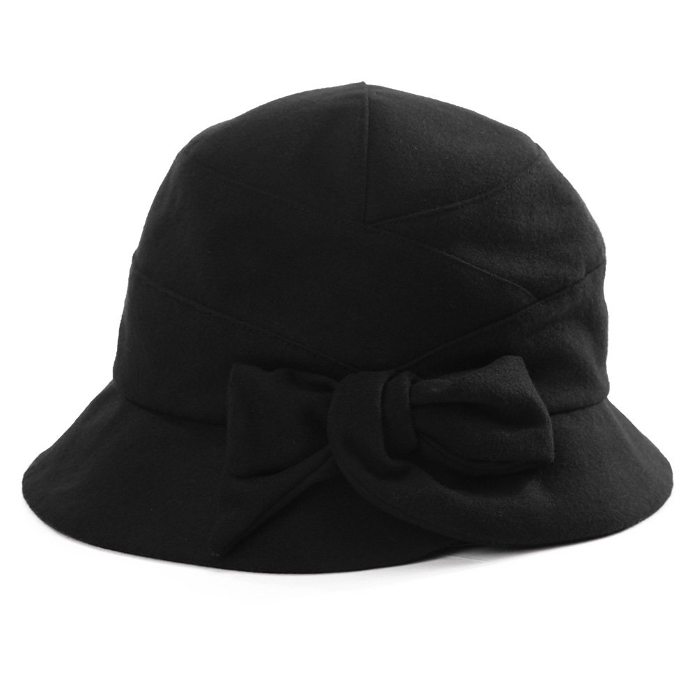 9c12d29c1c530 SIGGI Cloche Hat for Women Winter Hat Black Ladies 1920s Vintage Derby  Church Bowler Bucket Hat Fall Crushable at Amazon Women s Clothing store