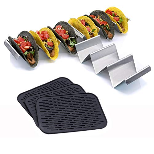Premium stainless steel taco holder with placement mats | Set of two | Each rack holds 3 tacos | Perfect taco stand for your taco bar | Taco truck style taco plates | Grill, oven, dishwasher safe |