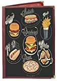 25 BETTER QUALITY Menu Covers #3124 BURGUNDY DOUBLE PANEL - 4-VIEW - 8.5'' WIDE x 11'' TALL - DOUBLE-STITCHED Leatherette Vinyl Sewn Edge. Gold corners. SEE MORE: Type MenuCoverMan in Amazon search.