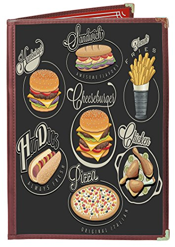 25 BETTER QUALITY Menu Covers #3124 BURGUNDY DOUBLE PANEL - 4-VIEW - 8.5'' WIDE x 11'' TALL - DOUBLE-STITCHED Leatherette Vinyl Sewn Edge. Gold corners. SEE MORE: Type MenuCoverMan in Amazon search. by MenuCoverMan