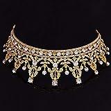 Dunnomart Vintage Red Crystal Tiara Gold Crown Optimal Women Queen Crown Tiara Bride Rhinestone Hair Jewelry Wedding Accessories