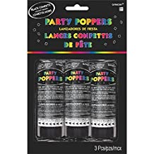 """Party Fun Mini Confetti Party Poppers Noisemakers, Black, Paper, 4"""", Pack of 3"""