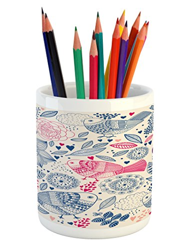 Flower Pencil Pen Holder by Lunarable, Floral Background with Leaf Buds Cloud Hearts and Ethnic Motif Birds Image, Printed Ceramic Pencil Pen Holder for Desk Office Accessory, Pale Pink and (Bird Image Wrap)