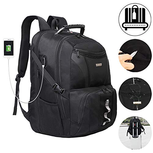 Laptop Backpacks Extra Large Up to 21Inch TSA Friendly Water Resistant Hiking Travel Shockproof School College Backpack For Men & Women Fits 18.4 Inch Laptop with USB Charging Port Headphone Wire Hole