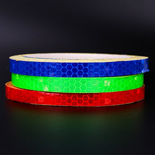 HUELE 3 Rolls Safety Warning Lighting Sticker Bike Reflective Adhesive Tape Stripe 3 Colors