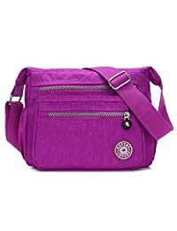 Tibes Fashion Women Nylon Shoulder Bag Waterproof Crossbody Purse Organize Travel Messenger Bag PUrple 2