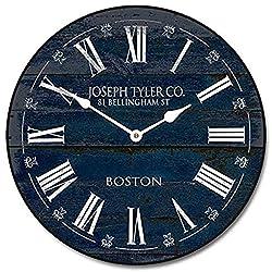 LOVE NILE Wall Clock 12 Round Wood Clock, Rustic Wall Clock Barnwood Navy Blue Wooden Decorative Round Wall Clock Design Bright Numbers Dark Plank Wood Material Hanging Clock