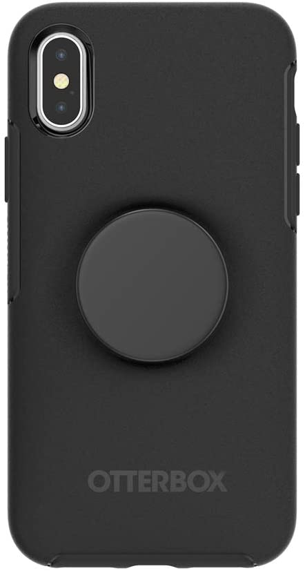 Otter + Pop for iPhone X and XS: OtterBox Symmetry Series Case with PopSockets Swappable PopTop - Black and Aluminum Black