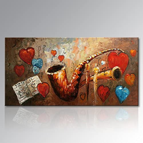 Seekland Hand Painted Textured Music Oil Painting on Canvas Modern Musical Instrument Wall Art Abstract Artwork Non Stretched and Unframed 40 x 20