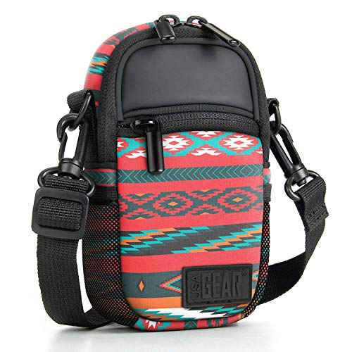 Compact Point and Shoot Camera Case Southwest Sling Bag with Rain Cover, Accessory Pockets and Shoulder Strap by USA Gear- Works with Olympus Pen-F, Stylus SH-3, Tough TG-870 and More Cameras