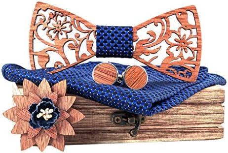 Wooden Bow Tie Handkerchief Set Corsage Men Bowtie Hollow Carved Tie Gift Box