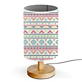 ArtLights - Wood Base Decoration Desk / Table / Bedside Lamp [ Native Indian Pattern ]