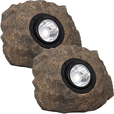 Westinghouse Solar Rock Lights - Adjustable Beam 20 Lumens LED Spot Light, 2 Pack