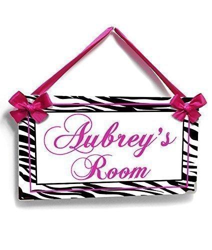 Custom Teens Zebra Print Door Sign, Girly Room Plaque, Hot Pink - Name Metal Hot Pink