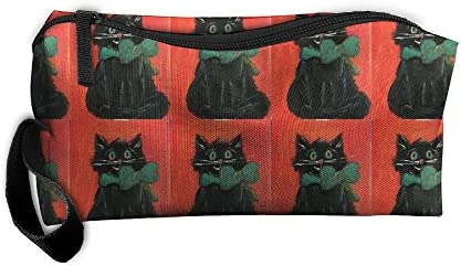 Huadduo - Estuche Organizador de cosméticos para Gatos de Halloween, Color Negro
