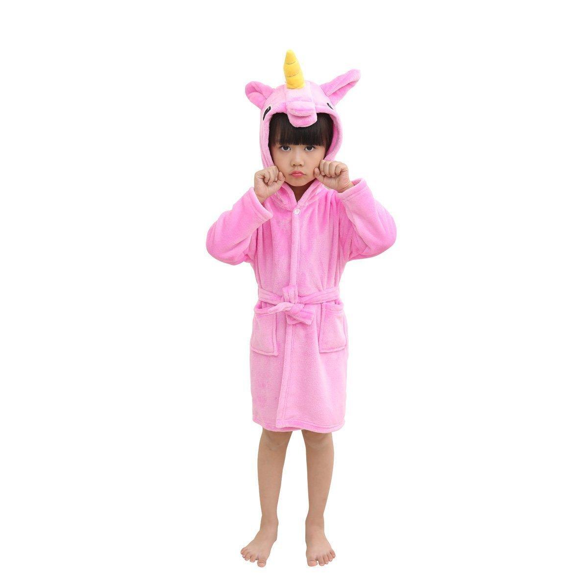 UsHigh kids unicorn bathrobe flannel soft sleepwear gift comfy four season