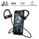 Bluetooth Headphones, SHUHUA Wireless Bluetooth Earbuds V4.1 Sport Headphones, IPX7 Waterproof,HD Sound with Bass,Secure Fit Bluetooth Headset for Running, Workout and Gym - Black