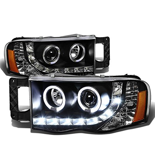 For Ram Truck 3rd Gen Black Housing Amber Corner Dual Halo Projector LED DRL Headlight Kit -