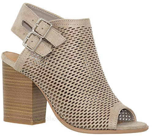 MVE Shoes Women's Peep Toe Block Heel Sandal - Comfort Double Slingback Sandals - Fashion Summer Ankle Heeled Sandal, Clay IMSU Size 7.5