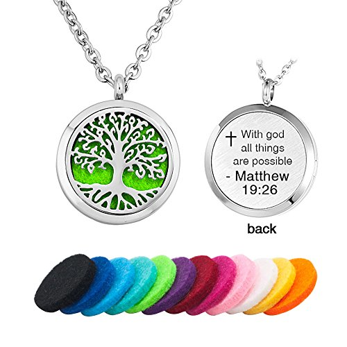 Third Time Charm Aromatherapy Essential Oil Diffuser Religious Tree Of Life Necklace With God All Things Are Possible Locket Pendant, 12 Refill Pads