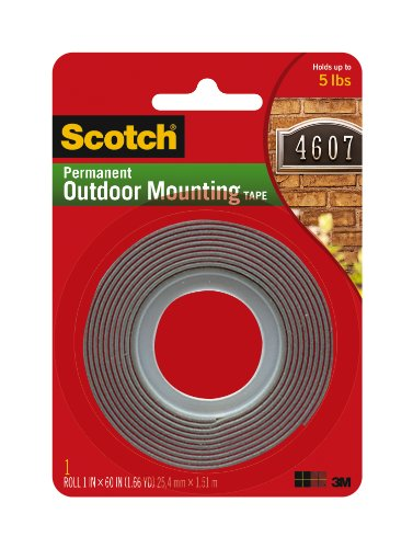 Scotch Super Strong Exterior Mounting Tape, Grey, 25.4mm x 1.52m, 1 Roll