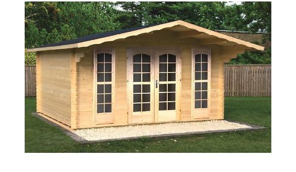 Jardín Casa Camilla - B40 bloque casa 380 x 380 Cm - 40 mm - con soporte suelo + verglasung Cenador Madera Hogar Madera Cenador: Amazon.es: Jardín