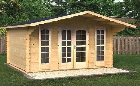 PRIKKER-Gartenhaus Jardín Casa Camilla - B40 Bloque casa 380 x 380 Cm - 40 mm - con Soporte Suelo + verglasung Cenador Madera Hogar Madera Cenador: ...