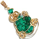 Dioptase Crystal Wire Wrap Pendant in 14K Gold Filled By Puppylove