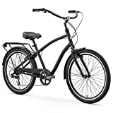 "sixthreezero EVRYjourney Men's 7-Speed Hybrid Alloy Cruiser Bicycle, Matte Black w/Black Seat/Grips, 26"" Wheels/19 Frame"