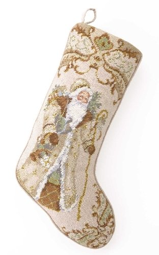 Vintage Style Gold Santa with Presents Christmas Stocking, Wool Needlepoint, 11 Inch X 18 Inch