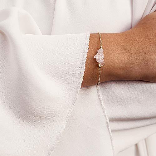 (Rose quartz bead bar crystal bracelet in 14k gold fill - 6