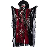 TCCSTAR Halloween Decoration Props Animated Skeleton Hanging Ghost Voice Activated Scary Spooky Skeleton Ghost with Red LED Eyes Sound Battery Operated (Red)
