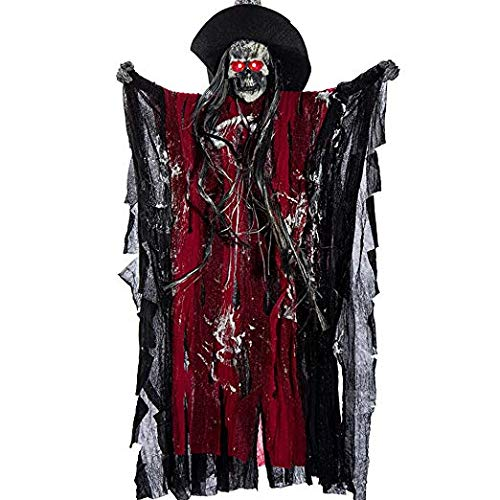 TCCSTAR Halloween Decoration Props Animated Skeleton Hanging Ghost Voice Activated Scary Spooky Skeleton Ghost with Red LED Eyes Sound Battery Operated -