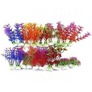 DLOnline 20 Pack Artificial Aquarium Plants Fish Tank Decorations Home Décor Plastic (10 Style) 55