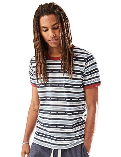 Rebel Canyon Men's Short Sleeve Printed Ringer T-Shirt Top Small Navy (Small Canyon Stripe)