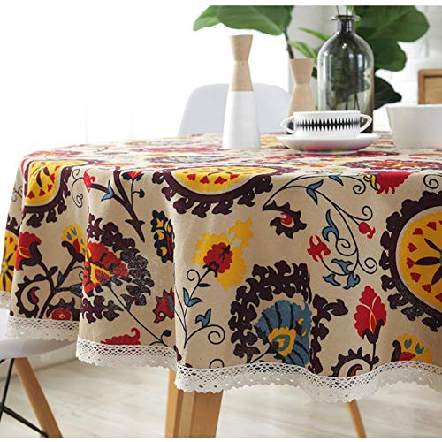 Bringsine Vintage Sunflower Pattern Decorative Macrame Lace Tablecloth Heavy Weight Cotton Linen Fabric Decorative Table Top Cover (Round, 60 Inch, Sunflower)