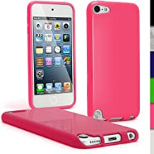 iGadgitz Pink Glossy Durable Crystal Gel Skin (TPU) Case Cover for Apple iPod Touch 6th Generation (July 2015 onwards) & 5th Generation (2012-2015) + Screen Protector