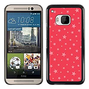 Planetar® ( Stars Pink Red Pattern Gift Christmas Xmas ) HTC One M9 Fundas Cover Cubre Hard Case Cover