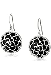 Sterling Silver Round Onyx with Flower Design Earrings