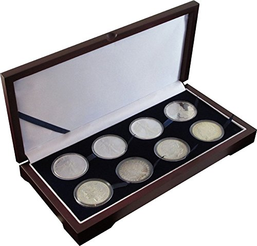 Wood Display Box for 8 Large Coin Capsules / Challenge Coin Mahogany (Silver Finish Challenge Coin)