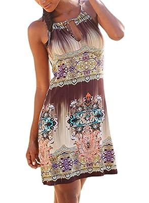 Bulawoo Womens Halter Neck Bohemian Print Racerback Casual Swing Mini Dress