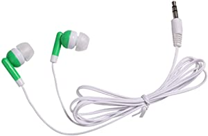 Wholesale Bulk Earbuds Headphones Individually Bagged 100 Pack for iPhone, Android, MP3 Player (Green)
