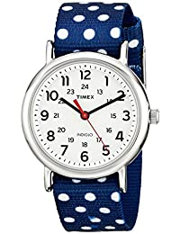 Timex Women's TW2P660009J Weekender Silver-Tone Watch with Reversible Blue Nylon Band